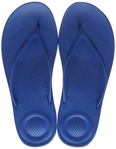 Fitflop Women's iQushion Ergonomic Toe Thong Sandals Flip Flops, Ocean Blue, 10