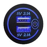 Detrade - Cargador de coche con doble puerto USB 4.2A, enchufe con interruptor para vehículos y motocicletas, Multicolor
