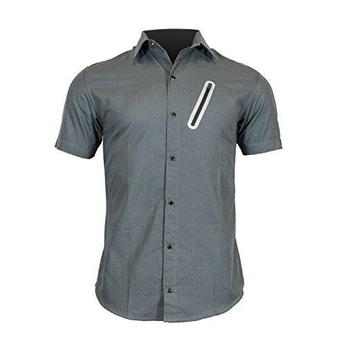 Pedaler's Pub Shirt - Casual Cycling Jersey with Zip Pockets (Grey, X-Large)