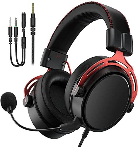 Gaming Headset für PS5 PS4 PC Xbox One Switch Mac, Gaming Kopfhörer mit 3,5 mm Klinke, Kopfhörer mit Noise Cancelling Mikrofon, rotes Metall Material