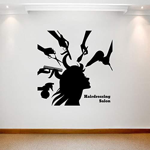 yaofale Schönheitssalon Wandaufkleber Mädchen Friseur Logo Logo Art Deco Vinyl Aufkleber abnehmbare Transfer Wandbild