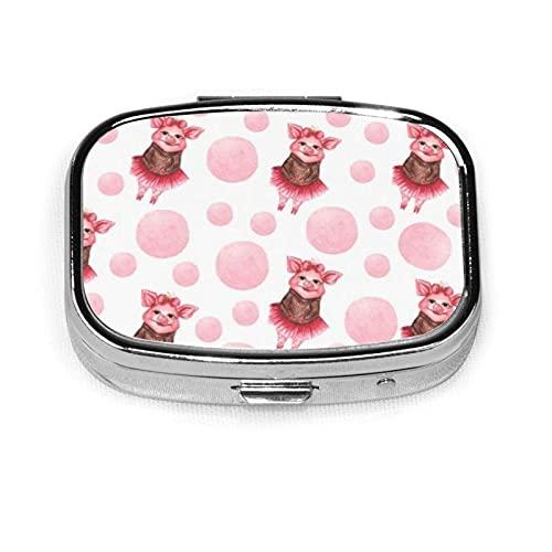 Cute Pigs Case Portable Mini Container Organizer with 2 Compartments Square Pill Box