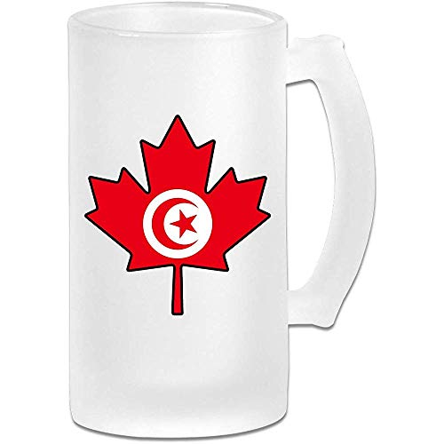 Taza de cerveza de Stein Flag Canada Maple Leaf Frosted Glass Stein - Taza de pub personalizada personalizada - Regalo para su bebedor de cerveza favorito