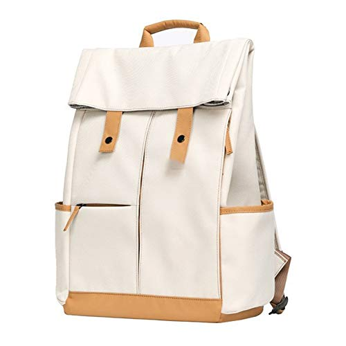 T-ara The New College Laptop Backpack Magnanimous Capacity Raincoat Men Knapsack Unisex Fashion Computer School Bag Essential for hiking (Color : Ivory, Size : XL)
