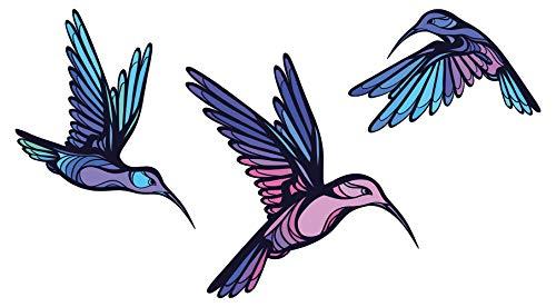 Wandtattoo Wandsticker Kolibri Vogelschwarm in bunten Farben farbiges Tiermotiv