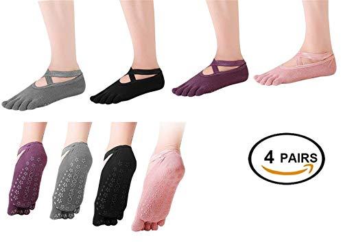 BESIXER 4 Pairs Women Girls Anti-Slip Five Toe Yoga Pilates Socks Non Slip Skid Barre Sock with Grips (Toe Multicoloured 2 (Cotton))