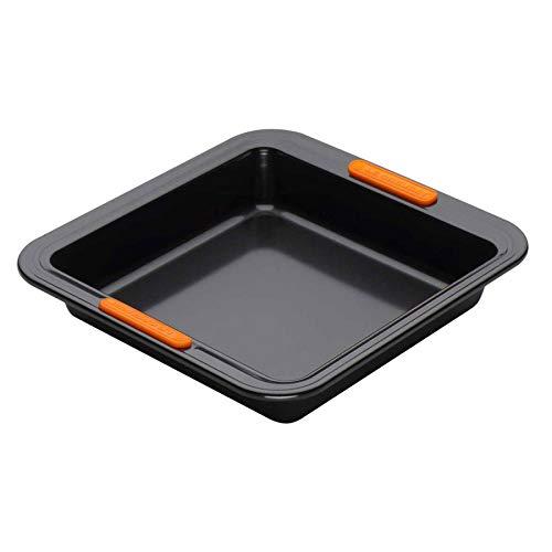 Le Creuset Antihaft Backform, Quadratisch, 23 x 23 x 5 cm, PFOA-frei, Sauerteigbeständig, Aus Karbonstahl gefertigt, Anthrazit/Orange