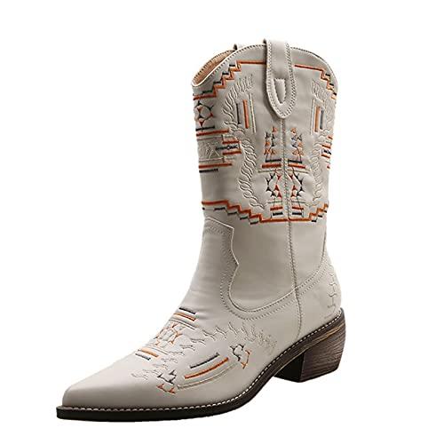 Dwevkeful Damen Kurze Bestickte Stiefel Ankle Boots Patchwork Stiefeletten Schlupfstiefel Sockenstiefel Reißverschluss Gestickte Stiefeletten Langschaft Vielseitige Halblange Stiefel