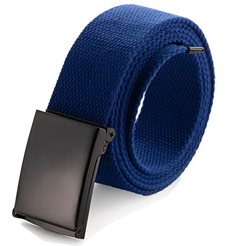 Cintura in tela regolabile, adatta a girovita fino a 132,1 cm, con fibbia militare nera tinta unita a scatto (16 colori e confezioni combinate) Blu Blue
