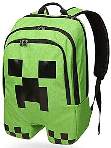 HAMIQI Creeper Face Rucksack Anime Cartoon Student Schultasche Reiserucksack (Grün)