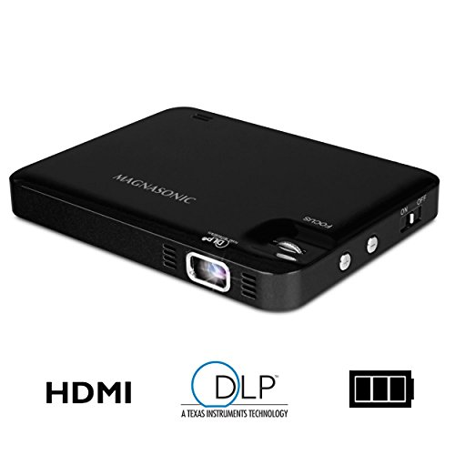 Magnasonic LED Pocket Pico Video Projector, HDMI, Rechargeable Battery, Built-in Speaker, DLP, 60...