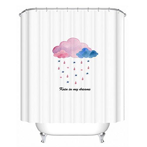 Z-one Premiumpolyester duschvorhang mit Haken Wasserdichte schimmel & mehltau resistente Badezimmer Schlafzimmer vorhänge -Weiß 180cmx150cm (71''x59'')