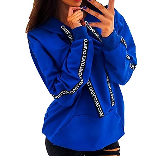 Sale!! HNTDG Women Plus Size Long Sleeve Solid Lightweight Sweatshirt Hooded Pullover Tops Shirt Blu...