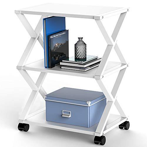 FITUEYES Soporte para Impresora con Ruedas X Estructura Metal Madera Blanco 3 Estantes para Oficina Hogar Cocina Almacenamiento 59.5x45.5x30.3cm DO304505WW