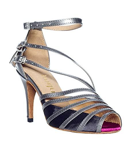 ZIYEYE Salón De Baile para Mujer Zapatos De Baile Latino Salsa Tango Bachata Baile Zapatos Boda Socio Social Partido De Baile De Baile De Prensa(Size:39 EU,Color:Gris)