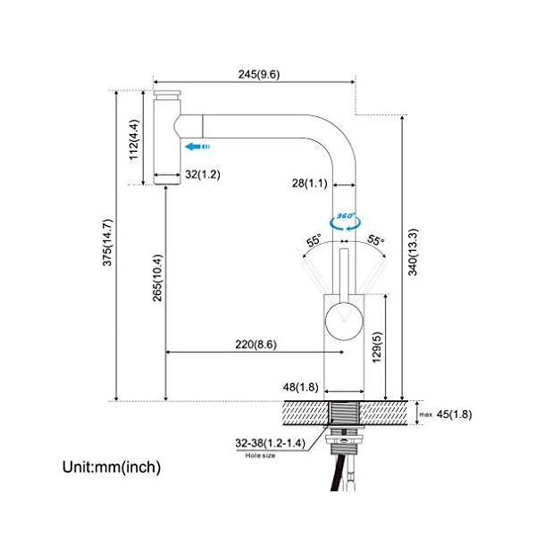BONADE Grifo de Cocina Extraíble con 3 Funciones Grifería para Fregadero 360° Giratorio Mezclador de Cocina Monomando…