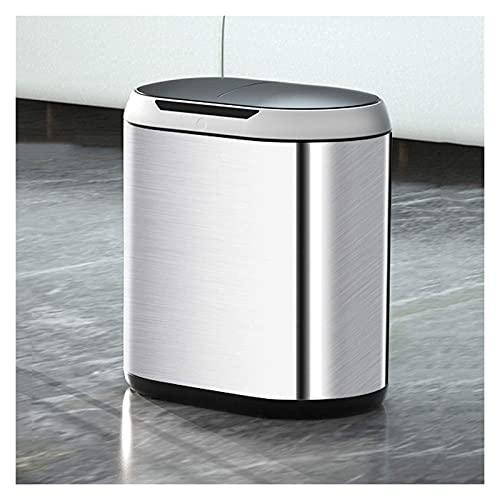 Cubo de Basura Bote de Basura Moderno Inteligente a Prueba de Agua Bote de Basura eléctrico Simple con Tapa Bote de Basura de inducción de 10L, hogar, la Cocina y la Oficina
