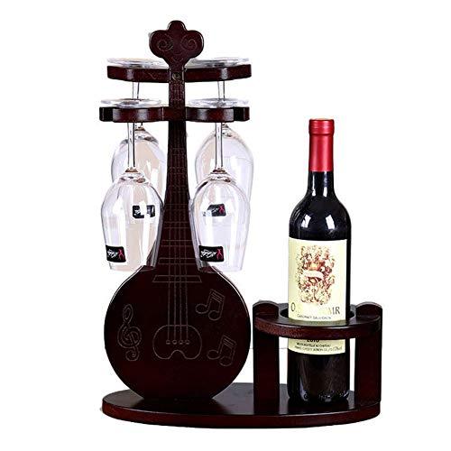 HOMERACK Wijnrek van hout wijnglashouder creatieve biwa-vorm wijnfleshouder vrijstaand wijnrek wijnglas-frame voor 1 fles en 4 wijnglazen eenvoudig op te stellen CHIHEN