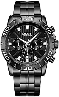 Megir Mens Quartz Watch, Chronograph Display and Stainless Steel Strap - 2087G