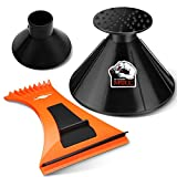 MATCC Ice Scraper 4 Pieces Magical Car Ice Scraper with Funnel Round Snow Scraper for Car Windshield Snow Removal Snow Shovel Tool Model MIC007