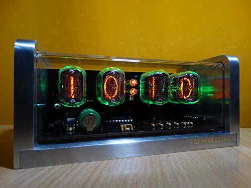 CHRONIX Nixie Röhren Uhr mit 4 x IN-12 Röhrenanzeigen & Alarm & Grün Hintergrundbeleuchtung & Aluminiumgehäuse