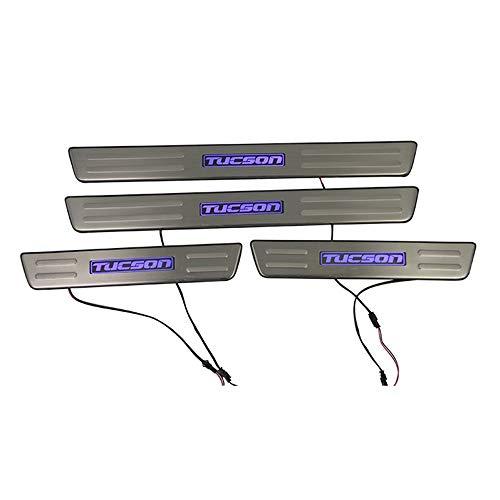 ACEOLT 4pcs/Set de acero inoxidable Anti-rasguño Protector Umbral de Puerta de Coche con luz LED para HYUNDAI TUCSON 2006-2014, Protectores de Umbral de la Puerta del Coche