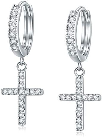 14K Plated Cross Earrings Silver Huggie Hoop Earrings Cubic Zirconia Cross Charm Dangle Drop product image