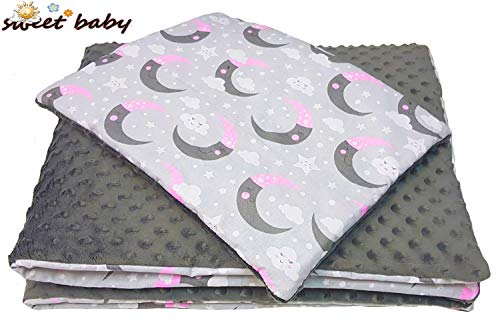 Sweet Baby ** 2er Komplett-Set MINKY BUBU ** Babydecke + Kissen ** Weiche Kuscheldecke aus Minky Dots Polar Fleece 75x100cm (Heavenly Rose)