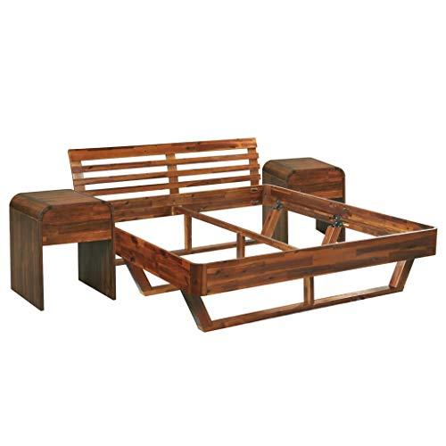 vidaXL Akazienholz Massiv Bettgestell mit 2 Nachttischen Nachtschrank Nachtkommode Doppelbett Bett Holzbett Futonbett Schlafzimmermöbel 180x200cm