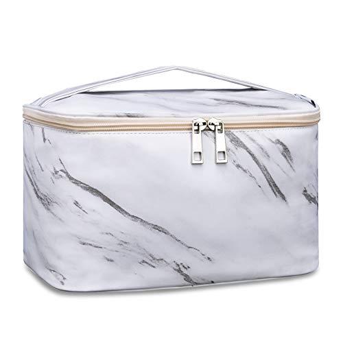 Travel Makeup Bag Kosmetiktasche Makeup Case Organizer für Frauen und Mädchen (Groß, Marmor)