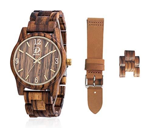 MODUN Herren analogem Quarz holz uhr satz mit Zebra Armband aus Holz und Lederarmband DE-taozhang