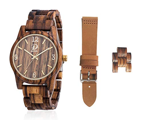 Houten polshorloge, kwarts houten horloge, cadeauset voor mannen vrouwen, zebra houten horlogekast + houten verstelbare armband + bruin echt lederen beugel + extra armband links + gereedschap + geschenkdoos