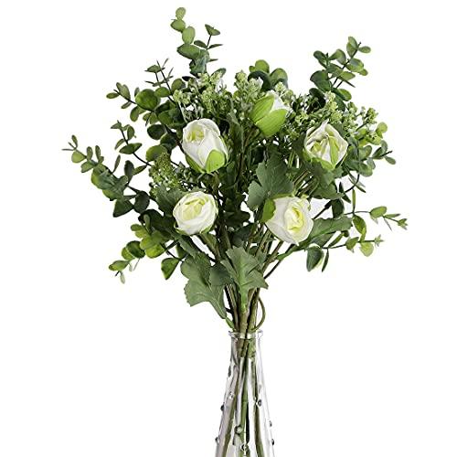 huaao 2pcs Ramo de Flores Artificiales Rosa y Aliento del bebé Artificiales Eucaliptos Falsas Plantas Bouquets Flor Nupcial Decoración Jarrón Boda arreglo Floral Fiesta Oficina Mesa Hogar, Blanco