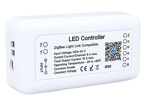 LEDLUX ZigBee Controller Led Dimmer 12V 24V Tuya App, para Led Strip, Compatible con Alexa Google Home Hue (5CH)