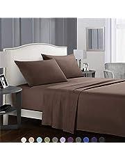 SaDiao Beddengoed, 3-delige bedlakenset, geborsteld microvezel, diep zakbed, plat blad met 1 kussenslopen, vouwen, vuilafstotend