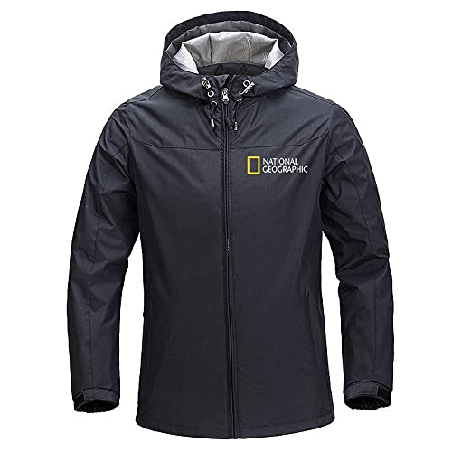 GYH Men's Windproof Jacket Brand Casual Outdoor Waterproof Hooded National Geographic Coat Sports Outwear Overcoat Man Clothing-7  XL