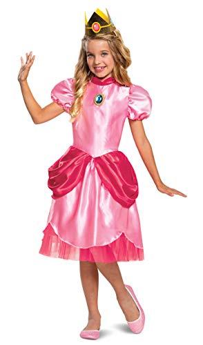 Disfraz de princesa melocotn, para Nintendo Super Mario Bros, traje de vestir clsico para nias, tamao grande (10-12)