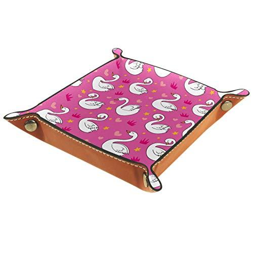 Tablett Leder,Glücklicher Schwan-Kronen-Herz-SAR-rosa Hintergrund,Leder Münzen Tablettschlüssel für Schmuck,Telefon,Uhren,Süßigkeiten,Catchall-Tablett für Männer & Frauen Großes Geschenk