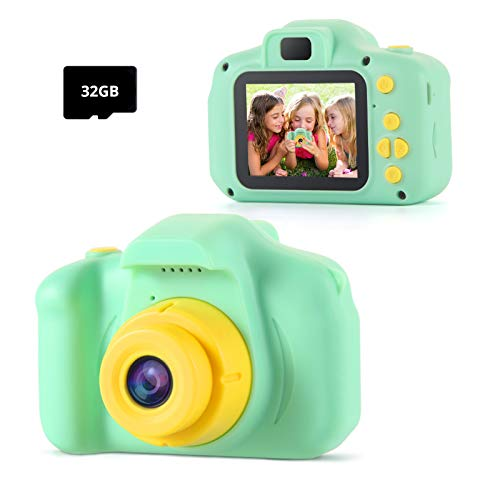 Cámara Digital Niños, 1080P Juguete para Niños Cámara de Fotos, Video Cámara Infantil con Tarjeta TF 32 GB, Regalo de Pascua Niños Niñas de 3-12 Años