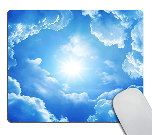 Smooffly Gaming Mouse Pad Customized Rectangle Non-Slip Rubber Mousepad with Mini Cute Funny Art Design for Mac, PC, Computers. Ideal Partner for Working Or Game,Blue Sky White Clouds Mouse Pad