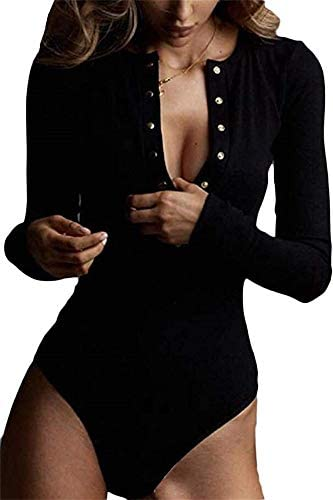 GEMBERA Womens Long Sleeves Button Down Sexy V Neck Ribbed Bodycon Bodysuit Top M Black product image