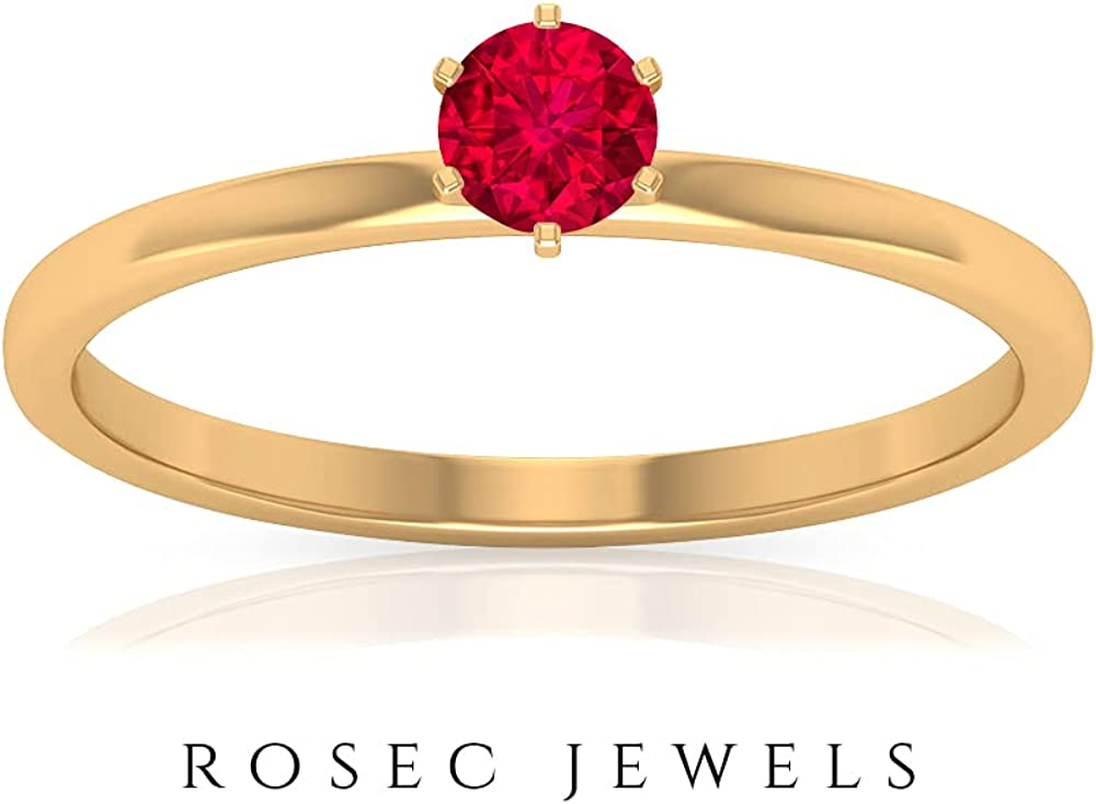 Ruby Solitaire Ring 0.34 CT, Gold Engagement Ring (4 MM Round Shaped Ruby), 14K Yellow Gold, Size:US 5.5