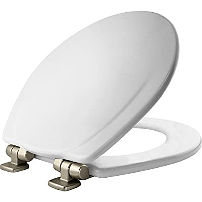 MAYFAIR 830NISL 000 Toilet Seat with Brushed Nickel Hinges will Slow Close and Never Come Loose, ROUND, Durable Enameled Wood, White
