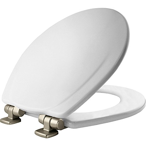 MAYFAIR 830NISL 000 Marion Toilet Seat with Brushed Nickel Hinges will Slow Close and Never Come Loose, ROUND, Durable Enameled Wood, White