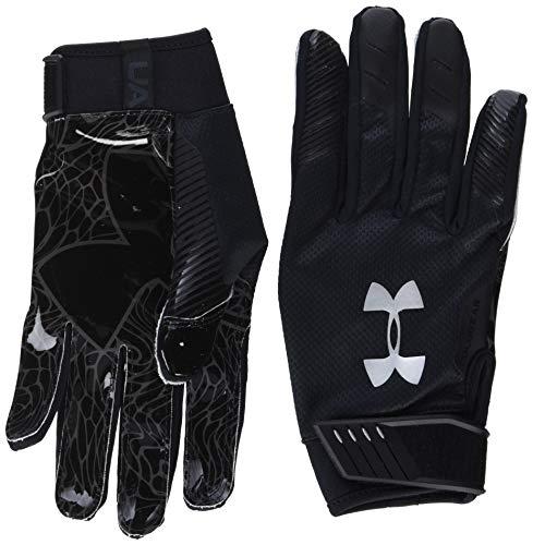 Under Armour Men's Spotlight ColdGear - NFL Football Gloves , Black (001)/Metallic Silver , Medium