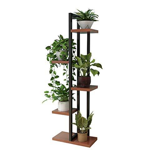 WYJW Bloemenstandaard Plankdrager voor plantenrekken Beugel voor metalen planken met metalen houder voor gebruik binnen 6 pothouders in zwart voor Gartenlounge ofice 40x20x116cm