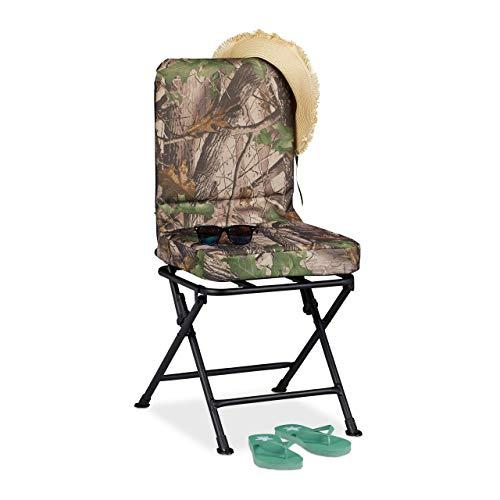 Relaxdays Campingstol 360° roterbar, vadderad snurrstol för camping, fiske och trädgård, hopfällbar, upp till 100 kg, grön