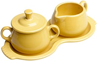 Fiesta Covered Sugar and Creamer Set with Tray, Sunflower