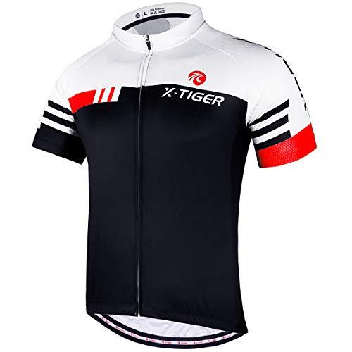 X-TIGER Magliette da Ciclismo da Uomo, T-Shirt Corta, Top Abbigliamento Maglie da Ciclismo,Camicia da Mountain Bike MTB,Traspirante e Assorbente dal Sudore, Asciugatura Rapida (Rosso + Bianco, M)