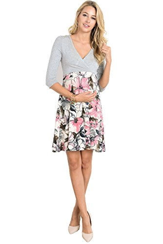Hello Miz Elbow Sleeve V-Neck Color Block Flower Printed Maternity Nursing Skater Dress (Small, Black/Red Flower)